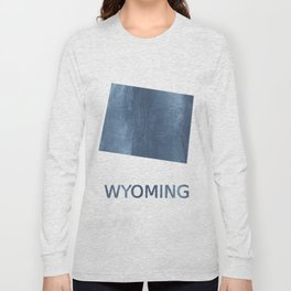 Wyoming map outline Dark blue clouded watercolor Long Sleeve T-shirt