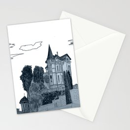 house with a turret and trees Stationery Cards