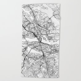 Stockholm White Map Beach Towel