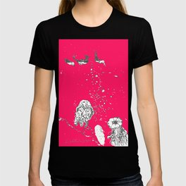 Two Tailed Duck and Jellyfish Bright Red Pink T-shirt