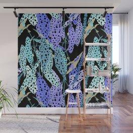 Polka Dot Begonia Leaves in Black + Blue Wall Mural