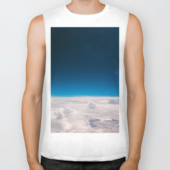 Blue and White at the sky Biker Tank