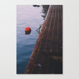 Red buoy in the sea. Canvas Print