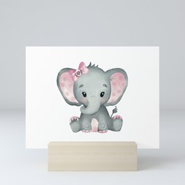 Cute Baby Elephant Mini Art Print