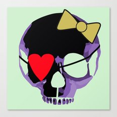 Purple skull heart with bow Canvas Print