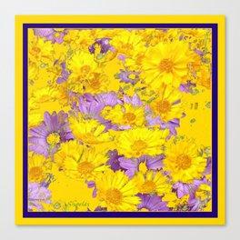 YELLOW LILAC FLOWERS  MODERN ART  PATTERN Canvas Print