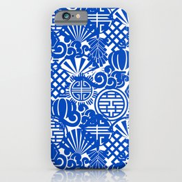 Chinese Symbols in Blue Porcelain iPhone Case