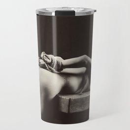 Rope Tied - Bondage bdsm style with a nude woman Travel Mug