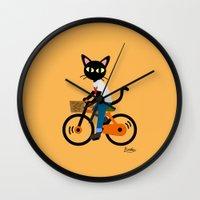 cycling Wall Clocks featuring Summer cycling by BATKEI