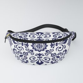Oriental Damask blue on white Fanny Pack