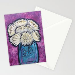 White Mums Stationery Cards
