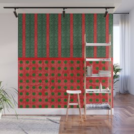 Christmas Red and Green Woven Stripes and Dots Wall Mural