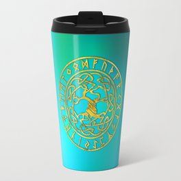 Tree of life  -Yggdrasil and  Runes alphabet Travel Mug