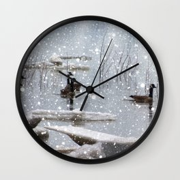 snow on the river Wall Clock