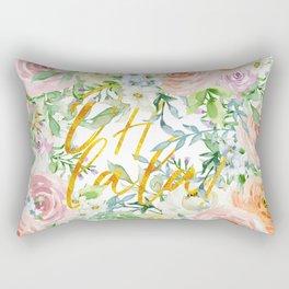 "Oh la la "" Fashionable Watercollor Floral Pattern Rectangular Pillow"