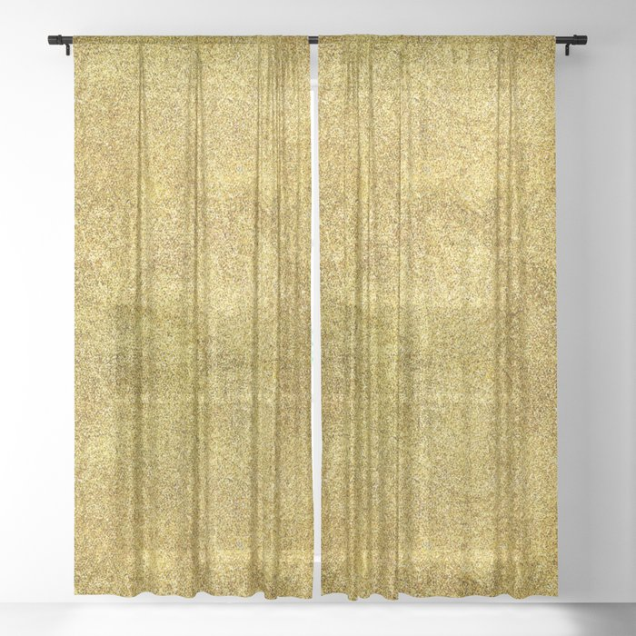 Antique Gold Glitter Sheer Curtain By