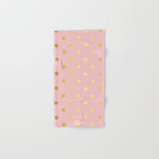 Gold polka dots on rosegold backround - Luxury pink pattern Hand & Bath Towel