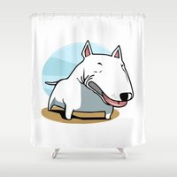 bull terrier Shower Curtains featuring Bull Terrier by Jaume Tenes