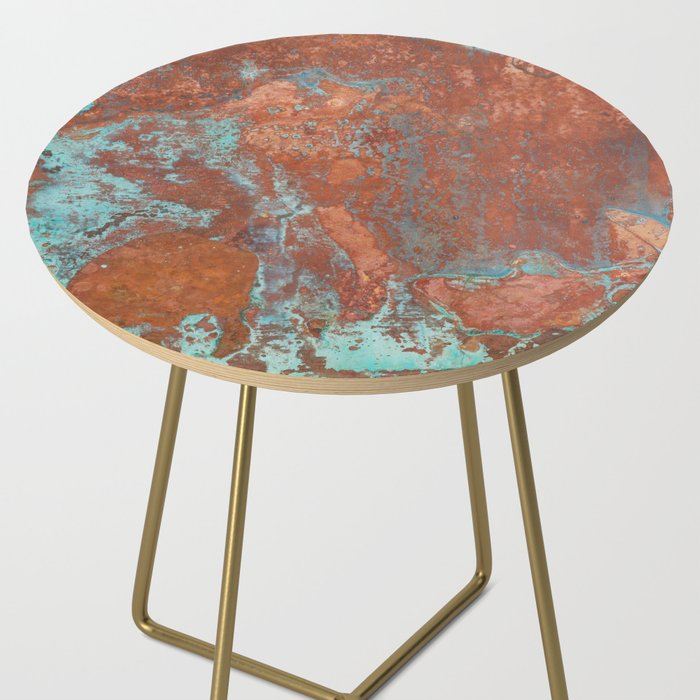 Tarnished Metal Copper Texture - Natural Marbling Industrial Art Side Table