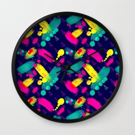 Neon Paint & Planes Wall Clock