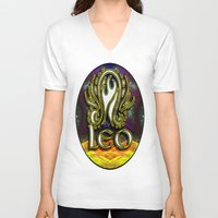 astrology V-neck T-shirts featuring Leo Zodiac Sign Astrology by CAP Artwork & Design