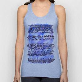 Tribal Pattern on Blue & Purple Watercolor Unisex Tank Top
