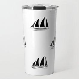 Black Sailboat Pattern Travel Mug