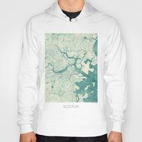 vintage map Hoodies featuring Boston Map Blue Vintage by City Art Posters