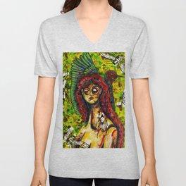 Watercolor Female portrait Unisex V-Neck