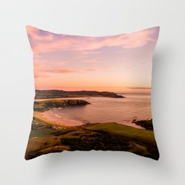 jacks bay new zealand beautiful colors at sunset farmland bay Throw Pillow