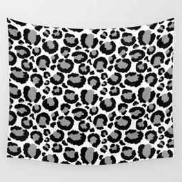 White Black & Light Gray Leopard Print Wall Tapestry