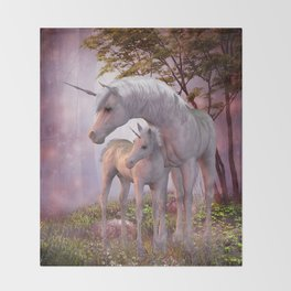 Enchanted Unicorns Throw Blanket