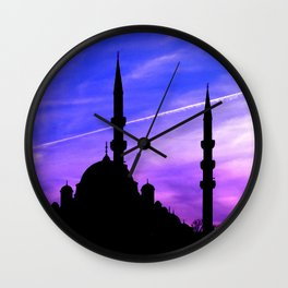 mosque and sunset Wall Clock