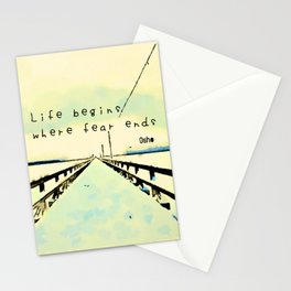 Life begins where fear ends Stationery Cards