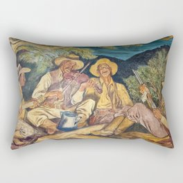 Texas Ranger Troop in Camp Singing with Guitar, WPA Mural landscape painting by Ward Lockwood Rectangular Pillow