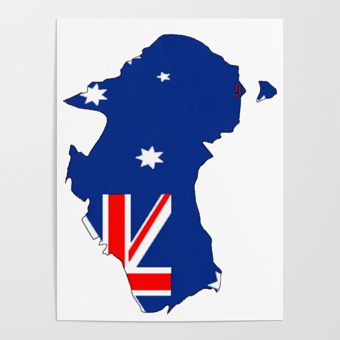 Australia Map And Flag.Australia Map With Australian Flag Poster By Havocgirl