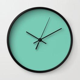 Electric Cyan Blue Green Solid Wall Clock