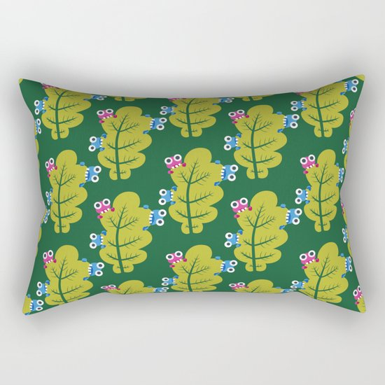Bugs Eat Green Leaf Rectangular Pillow