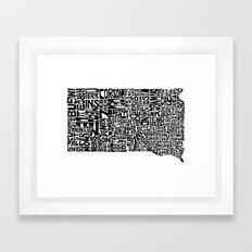 Typographic South Dakota Framed Art Print