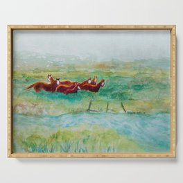 Wild Horse Band by Creek watercolor by CheyAnne Sexton Serving Tray