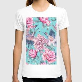 Teal peonies and birds T-shirt