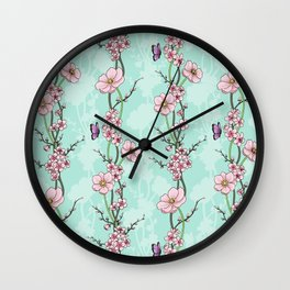 Japanese Garden - cherry blossom and anemones Wall Clock
