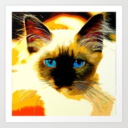 holy birma cat blue eyes vector art Art Print