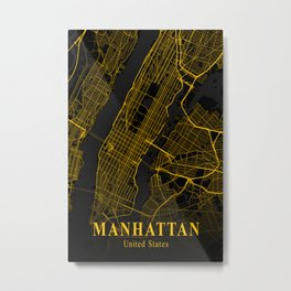 Manhattan City Map Gold | City Street Map | United States Cities Maps Metal Print