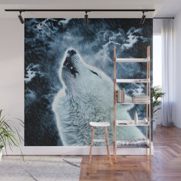 A howling wolf in the rain Wall Mural