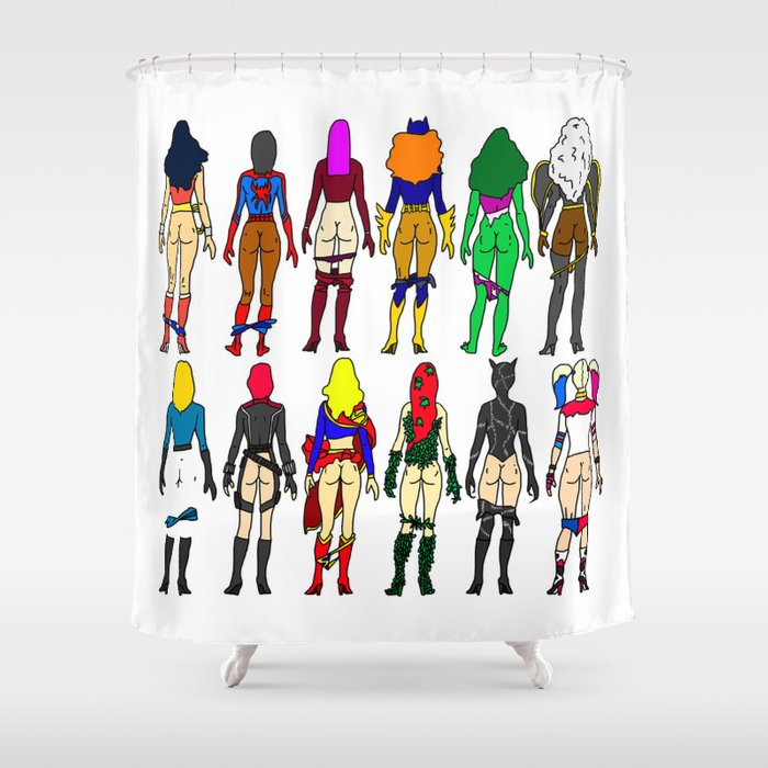 Superhero Butts - Girls - Row Version - Superheroine Shower Curtain ...
