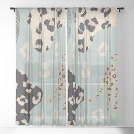 modern exotic leopard pattern V1 Sheer Curtain