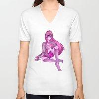 princess bubblegum V-neck T-shirts featuring PRINCESS BUBBLEGUM by adoptaatrought