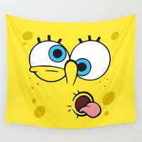 spongebob Wall Tapestries featuring Spongebob Crazy Face by Cute Cute Cute