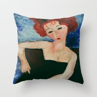 redhead Throw Pillows featuring Redhead by Sandra Dimitrijevic